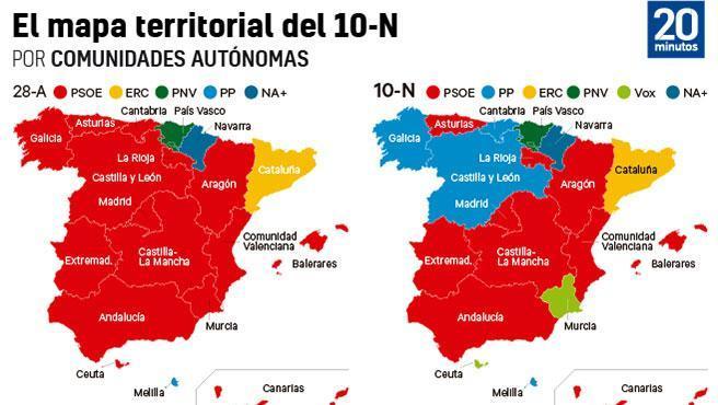 El mapa territorial del 10-N por comunidades autónomas