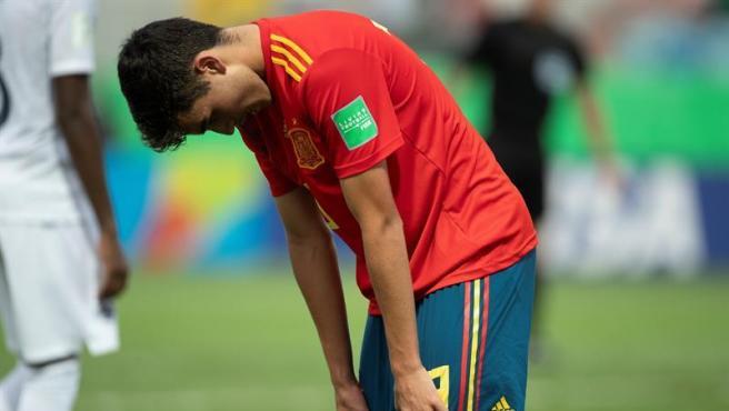 Pedri se lamenta tras la caída de España en cuartos.
