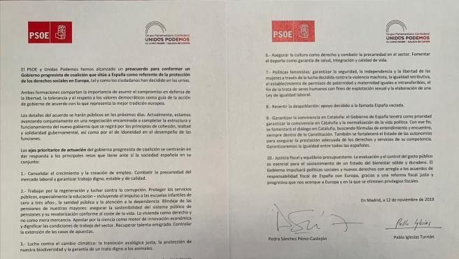 Acuerdo firmado entre Pedro Sánchez y Pablo Iglesias.