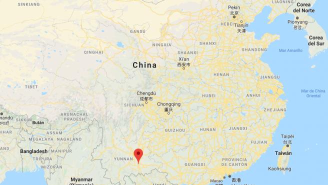 Localización de la ciudad de Kaiyuan, en la provincia china de Yunnan.