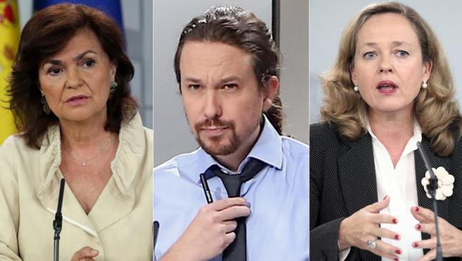 Carmen Calvo, Pablo Iglesias y Nadia Calviño, en un combo de imágenes.