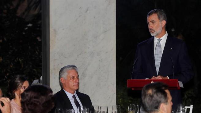 El rey Felipe VI, durante su intervención en la cena ofrecida por los monarcas españoles al presidente de Cuba, Miguel Díaz-Canel, en el Palacio de los Capitanes Generales de La Habana.