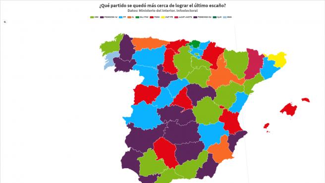Mapa de las provincias en donde el último escaño fue más disputado.