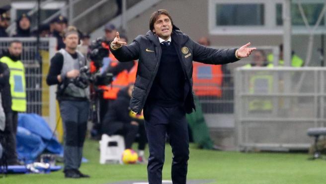 Antonio Conte en un partido del Inter de Milán esta temporada