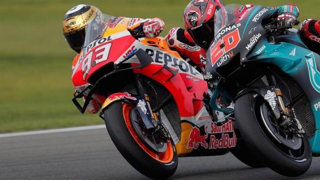 Márquez y Quartararo en el Gran Premio de Valencia.