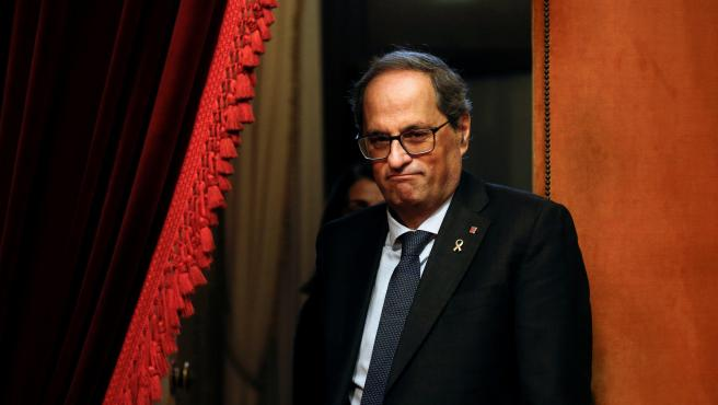 El presidente de la Generalitat de Cataluña, Quim Torra, a su llegada al pleno del Parlament.