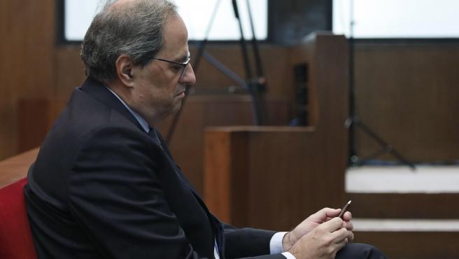 El president de la Generalitat, Quim Torra, en su juicio por desobediencia.
