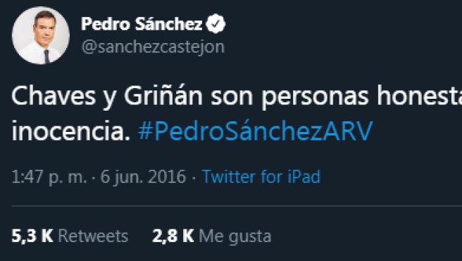 Tuit de Pedro Sánchez.