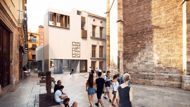 Figuración virtual con el nuevo edificio y la reforma de la Casa del Relojero.
