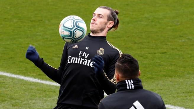 Gareth Bale, en el entrenamiento del Real Madrid.