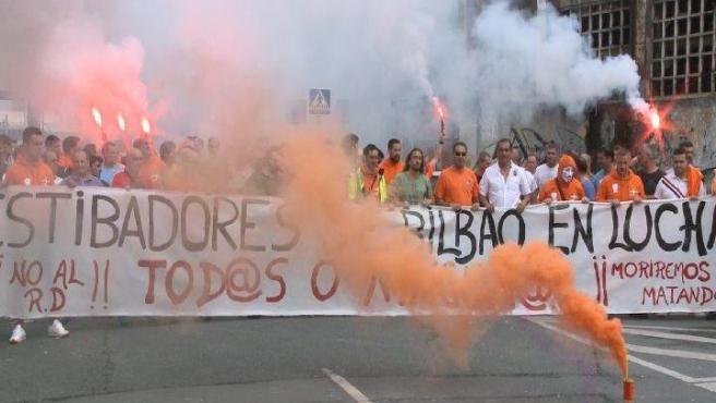Imagen de archivo de la huelga de estibadores en Bilbao.
