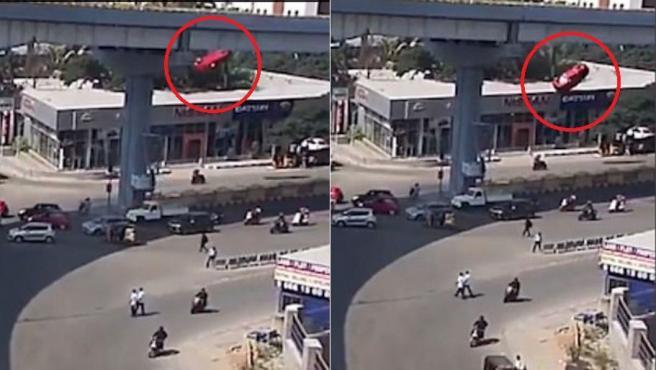 Secuencia de la caída de un coche desde un viaducto en Hyderabad, India.