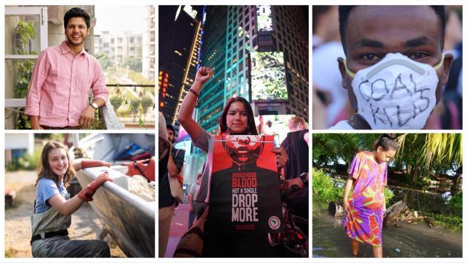 Los jóvenes activistas Emily, Paul, Helena, Vivek y Selina.