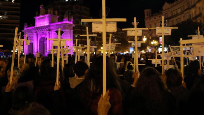 Manifestación en Valencia contra la violencia de género.