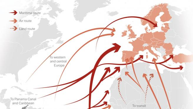Mapa de las principales rutas de llegada de cocaína de América a Europa.