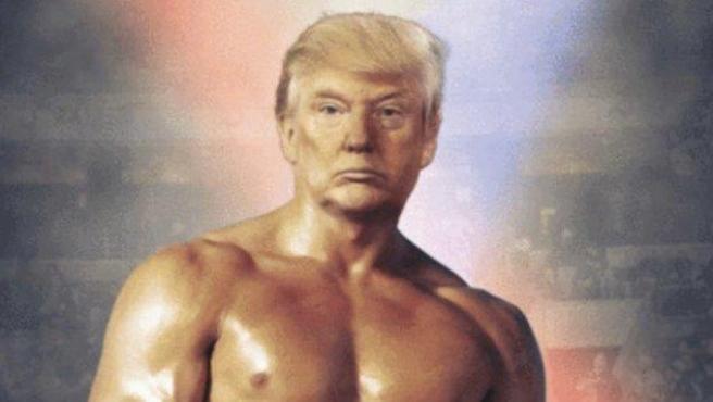 Fotomontaje de Donald Trump y Rocky.