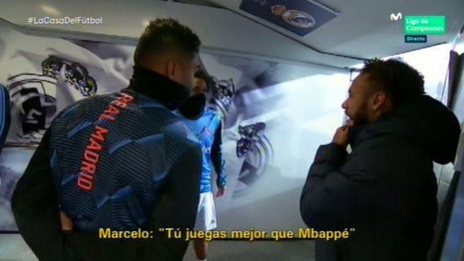 Marcelo, Neymar y Casemiro, en el túnel de vestuarios del Bernabéu.