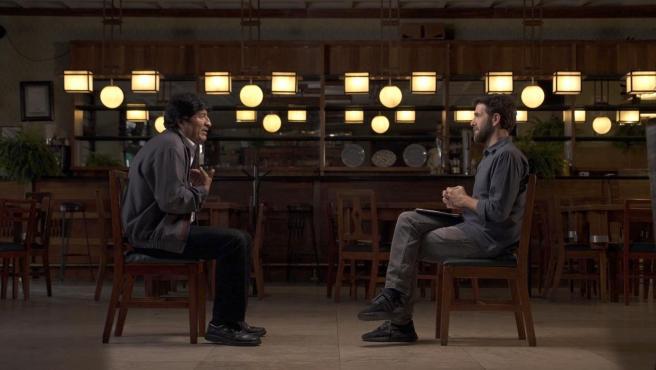 Gonzo, entrevistando a Evo Morales en 'Salvados'.