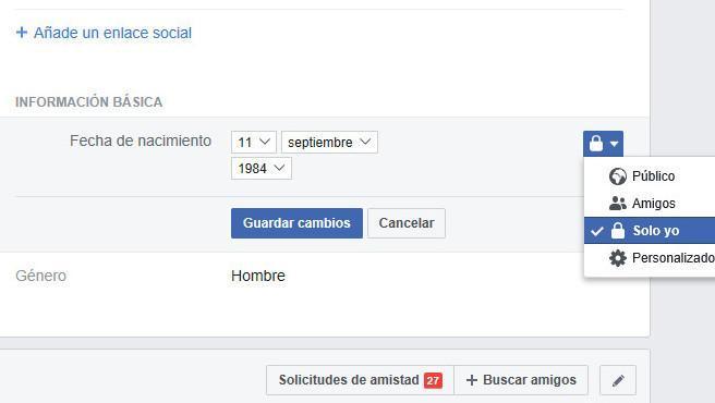 Ejemplo del paso clave para evitar que Facebook avise a mis contactos de mi cumpleaños