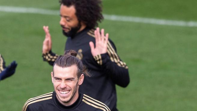 Gareth Bale y Marcelo en un entrenamiento del Real Madrid.