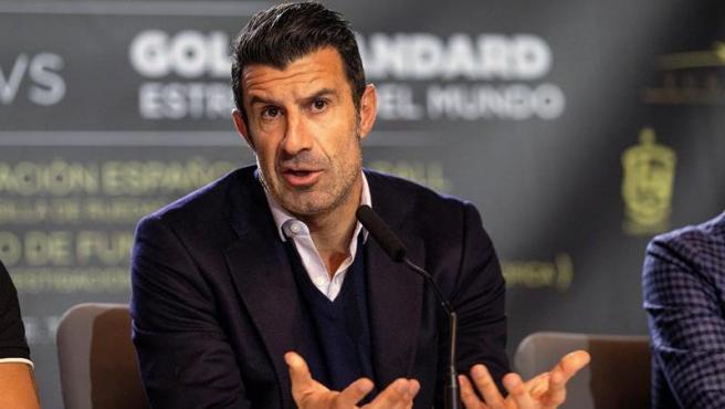 Luis Figo, durante el acto de presentación del partido benéfico entre leyendas españolas y mundailes.