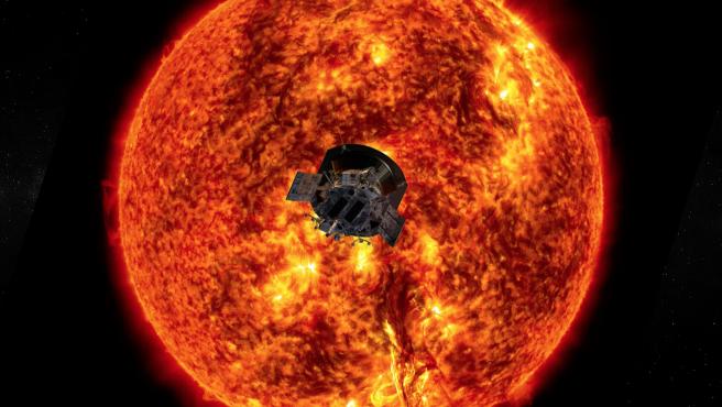 Ilustración artística de la sonda Parker Solar Probe de la NASA en las proximidades del Sol.