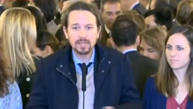 El líder de Unidas Podemos, Pablo Iglesias, a su llegada al Congreso.
