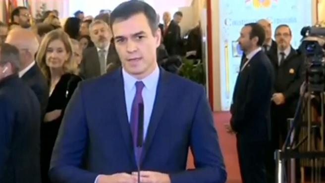 El presidente del Gobierno, Pedro Sánchez, en su llegada al Congreso.