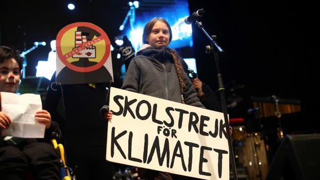 La activista sueca Greta Thunberg participa en el acto final de la marcha por el clima.