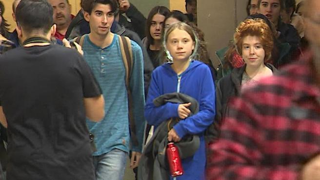 Greta Thunberg, a su llegada a la Complutense de Madrid.