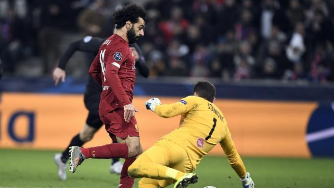 Mohamed Salah, en el RB Salzburgo - Liverpool de Champions.