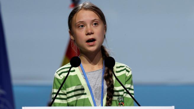 Greta Thunberg, durante el plenario de la Cumbre Climática en Madrid.