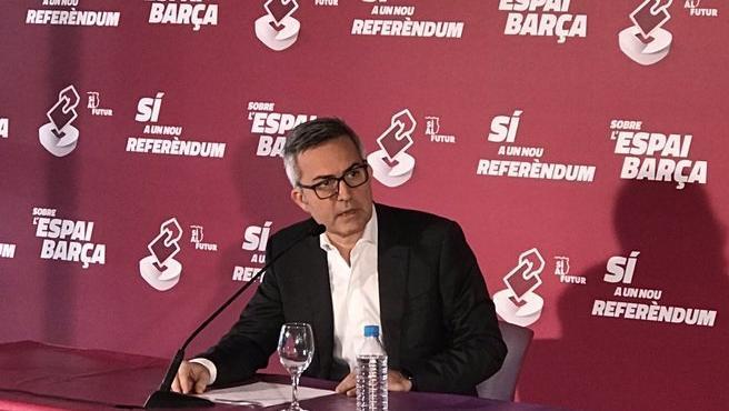 El precandidato a la presidencia del FC Barcelona Víctor Font en rueda de prensa