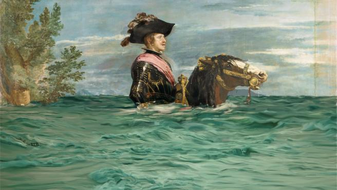 La obra 'Felipe IV a caballo', retocada para concienciar sobre el cambio climático.