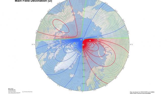 Mapa de declinación del polo magnético para 2020