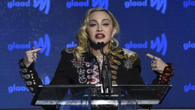 La cantante Madonna durante la 30º ceremonia de premios GLAAD en Nueva York.