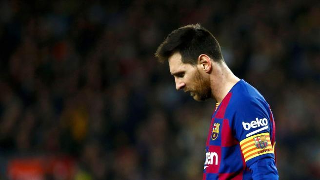 Messi, cabizbajo durante un partido del FC Barcelona.