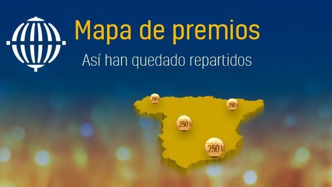 Mapa de premios de la Lotería