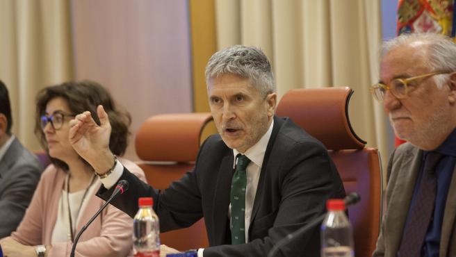 El ministro de Interior en funciones, Fernando Grande-Marlaska en una rueda de prensa.