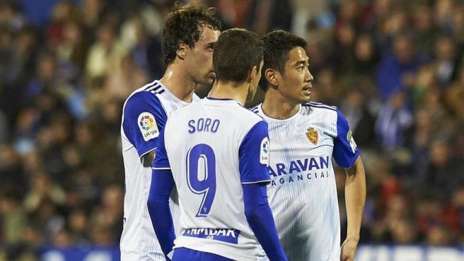 Jugadores del Zaragoza durante un partido.