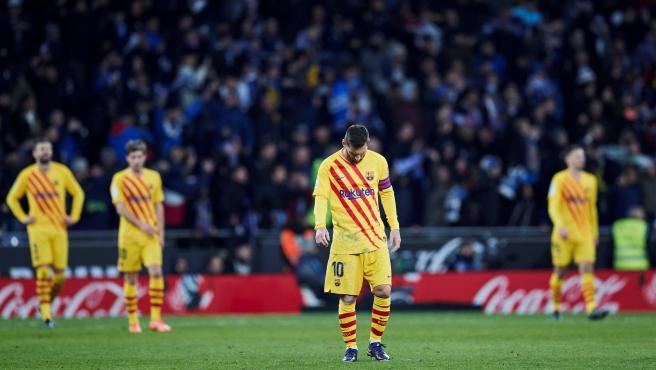 Messi, cabizbajo ante el empate del Espanyol.