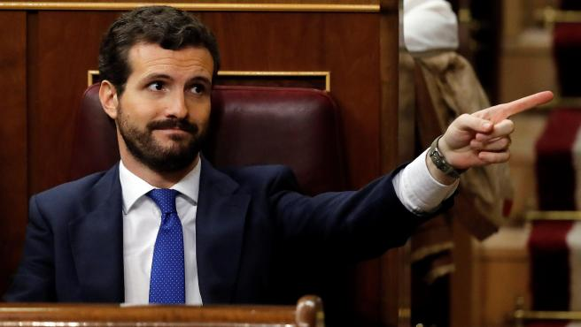 Pablo Casado, durante el debate de investidura.