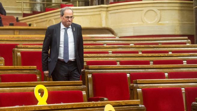 Quim Torra en el hemiciclo del Parlamento de Cataluña.