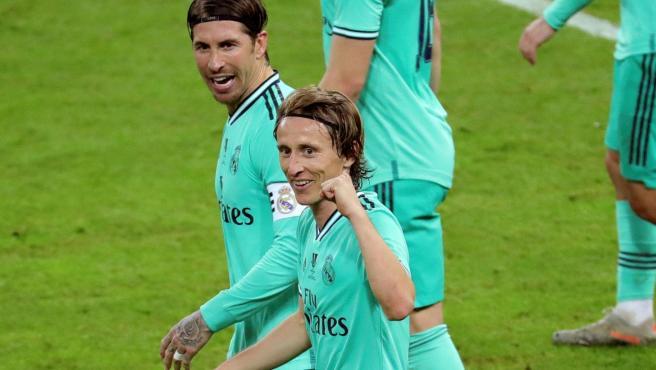 Luka Modric y Sergio Ramos, durante la semifinal de la Supercopa.