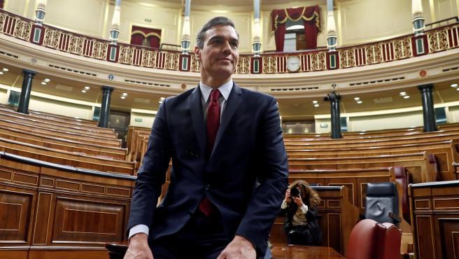 Pedro Sánhez, en el Congreso tras su investidura.