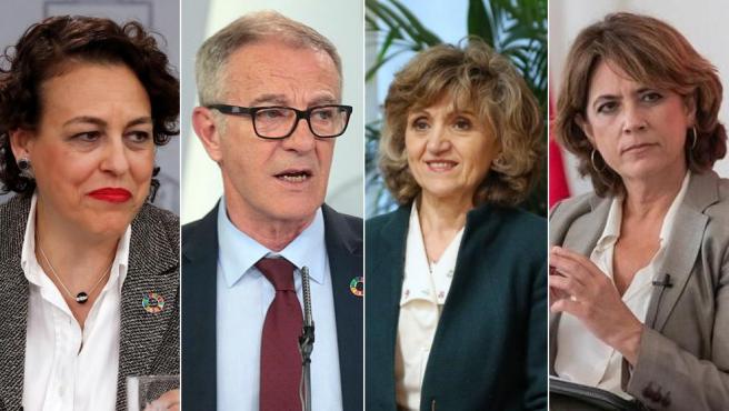 Valerio, Guirao, Carcedo y Delgado, los ministros que no repetirán en el nuevo Gobierno de Sánchez.