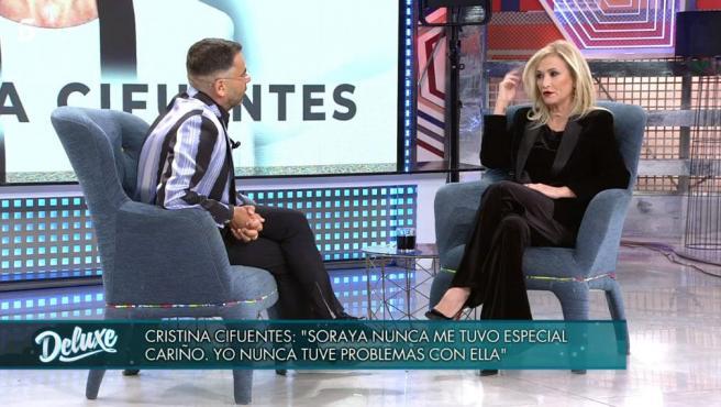 Cristina Cifuentes, en un momento de su entrevista con Jorge Javier Vázquez en 'Sábado Deluxe'.