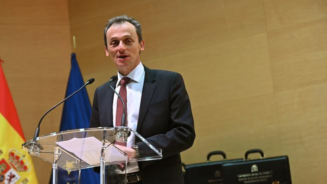 El ministro de Ciencia e Innovación, Pedro Duque, en la toma de posesión de su cargo.