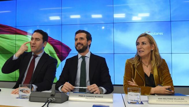 El líder del PP, Pablo Casado (c), junto a la vicesecretaria de Organización, Ana María Beltrán (d) y el secretario general del partido, Teodoro García Egea, durante la reunión de la Junta Directiva Nacional de la formación celebrada este lunes en la sede de Génova, en Madrid.