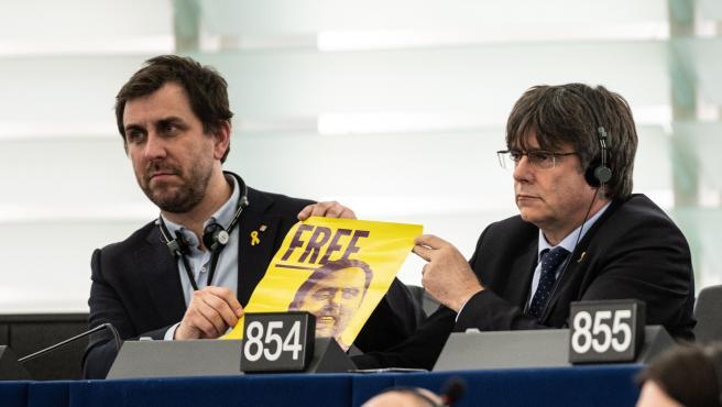 Puigdemont y Comín, en el Parlamento Europeo de Estrasburgo.